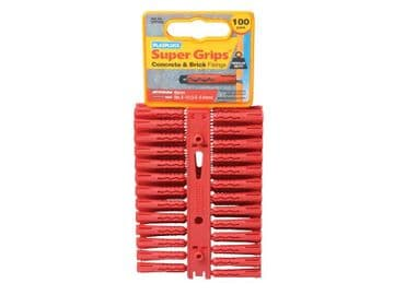 SRP 502 Solid Wall Super Grips Fixings Red (100)